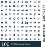 photography 100 icons universal ... | Shutterstock . vector #328741379