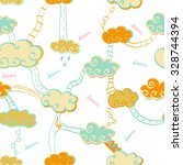 seamless pattern with clouds | Shutterstock .eps vector #328744394