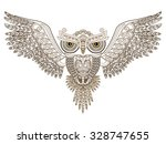 tattoo. owl with open wings and ... | Shutterstock .eps vector #328747655