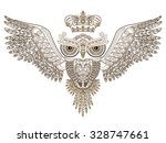 Tattoo. Owl With Open Wings And ...