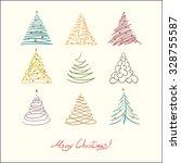 christmas tree set. vector...   Shutterstock .eps vector #328755587