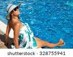 luxury resort woman in sarong... | Shutterstock . vector #328755941