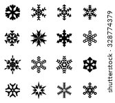 Vector Black Snowflake Icon Se...