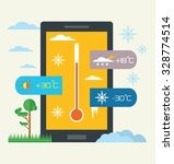 vector weather widget. flat...