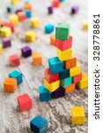 colorful wooden building blocks.... | Shutterstock . vector #328778861