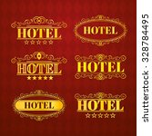 hotel vintage golden labels ... | Shutterstock .eps vector #328784495