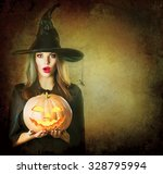 Halloween Surprised Witch With...