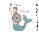 vector illustration of mermaid... | Shutterstock .eps vector #328803197