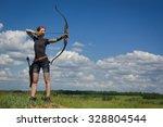 Archery Woman Bends Bow Archer...