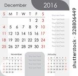 december 2016 calendar   week... | Shutterstock .eps vector #328806449
