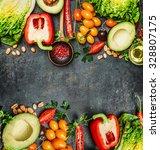 fresh colorful vegetables...   Shutterstock . vector #328807175