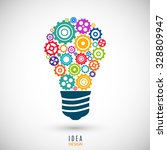 bulb icon with colorful gears... | Shutterstock .eps vector #328809947