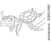 cute happy turtle is swimming...   Shutterstock .eps vector #328813985