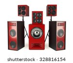 red sound speakers system... | Shutterstock . vector #328816154