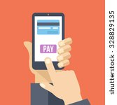 mobile payment. hand holds... | Shutterstock .eps vector #328829135