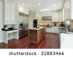 kitchen with wood island in new ... | Shutterstock . vector #32883466