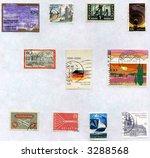 Vintage World Postage Stamp Ephemera (editorial)  collage montage collection - stock photo