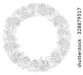 hydrangea garland over white... | Shutterstock .eps vector #328879517