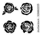 black silhouette of rose set | Shutterstock .eps vector #328882055