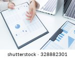 business woman working at... | Shutterstock . vector #328882301