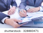 two businessmen looking at... | Shutterstock . vector #328883471
