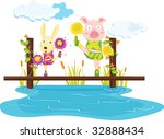 pig and rabbit on a bridge ... | Shutterstock . vector #32888434