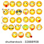 smiling faces   vector... | Shutterstock . vector #32888908