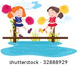 cheerleaders on bridge  vector...   Shutterstock . vector #32888929