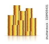 gold coins on a white... | Shutterstock .eps vector #328905431