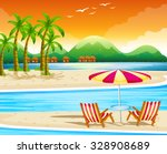beach scene with chairs and... | Shutterstock .eps vector #328908689