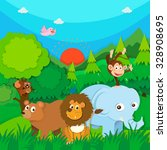 wild animals in the forest... | Shutterstock .eps vector #328908695