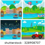 four scene of rural and urban... | Shutterstock .eps vector #328908707