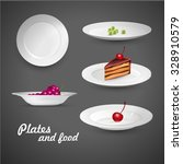 set of empty white plate on the ... | Shutterstock .eps vector #328910579
