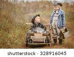 boy racer on his homemade... | Shutterstock . vector #328916045