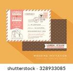 cute postcard wedding card... | Shutterstock .eps vector #328933085