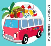 summer theme with van loaded... | Shutterstock .eps vector #328935701