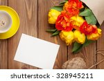 colorful tulips bouquet  blank... | Shutterstock . vector #328945211