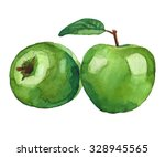 Two Green Apples Wirh Leaf In...