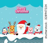 santa claus and animals on roof ... | Shutterstock .eps vector #328947224