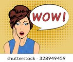 surprised woman with wow speech ... | Shutterstock .eps vector #328949459