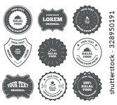 vintage emblems  labels. halal... | Shutterstock .eps vector #328950191