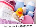 basket full of baby accessories ...   Shutterstock . vector #328953575