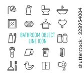 set of bathroom object line icon
