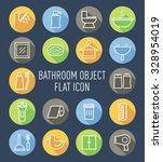 set of bathroom object flat icon