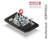 3d isometric mobile gps... | Shutterstock .eps vector #328955021
