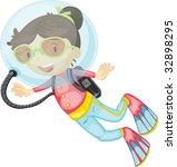 scuba girl  vector image... | Shutterstock . vector #32898295