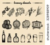 vector set of vintage brewery... | Shutterstock .eps vector #328988909