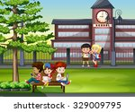 children hanging out at school... | Shutterstock .eps vector #329009795