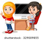 two girls working on computer... | Shutterstock .eps vector #329009855
