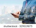 double exposure of businessmen... | Shutterstock . vector #329019875